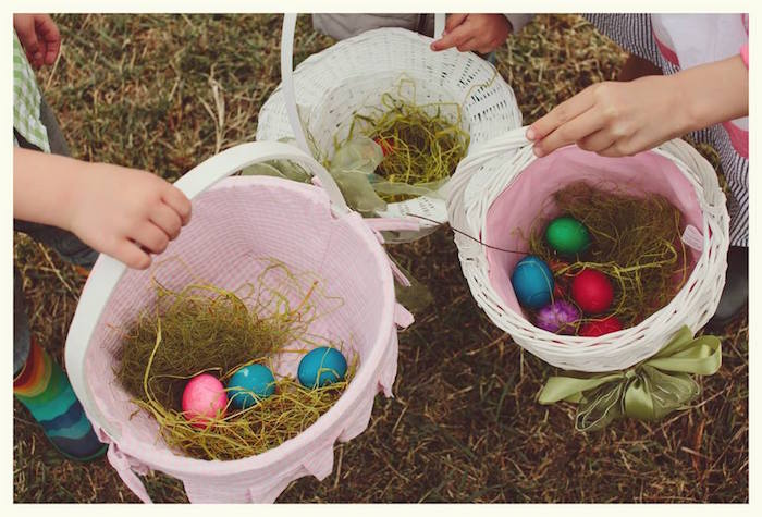 Baskets filled with Eggs after an Easter Egg Hunt from a Spring Easter Brunch Party via Kara's Party Ideas! KarasPartyIdeas.com (19)