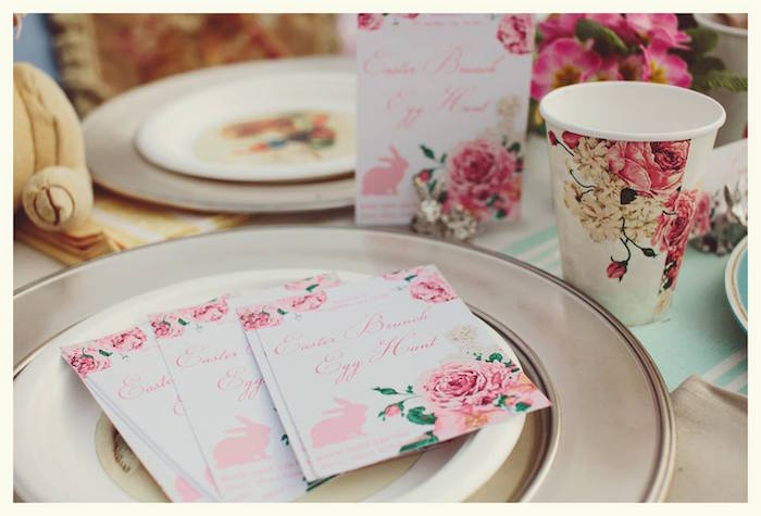 Stationery + Place Setting from a Spring Easter Brunch Party via Kara's Party Ideas! KarasPartyIdeas.com (18)