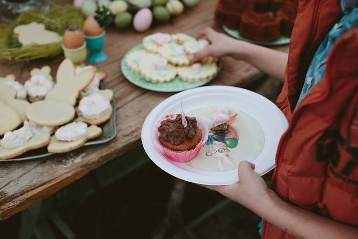 Child Gathering Sweets from a Spring Easter Brunch Party via Kara's Party Ideas! KarasPartyIdeas.com (14)