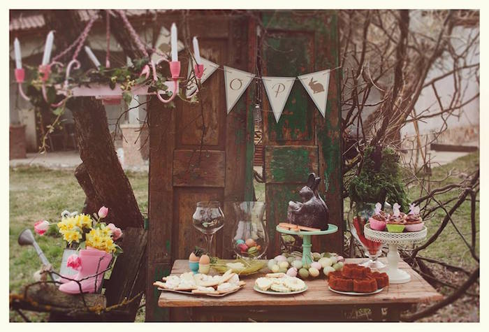 Sweet Table Display from a Spring Easter Brunch Party via Kara's Party Ideas! KarasPartyIdeas.com (13)