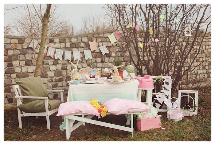 Partyscape from a Spring Easter Brunch Party via Kara's Party Ideas! KarasPartyIdeas.com (11)