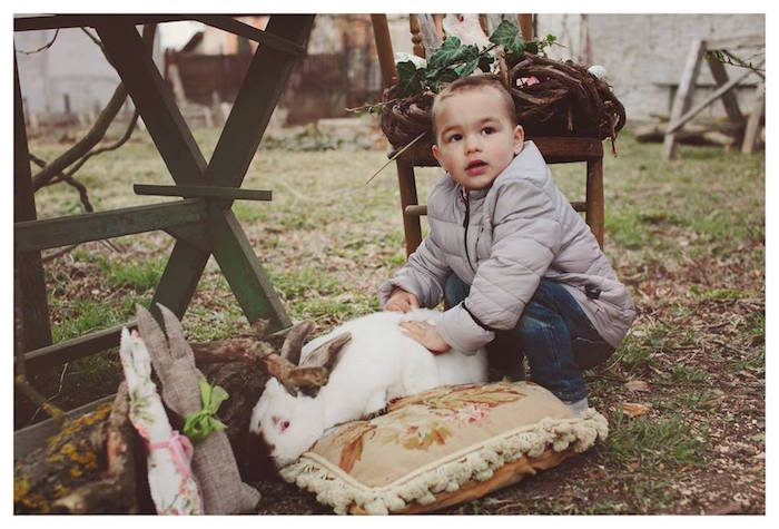 Boy with a Bunny from a Spring Easter Brunch Party via Kara's Party Ideas! KarasPartyIdeas.com (7)