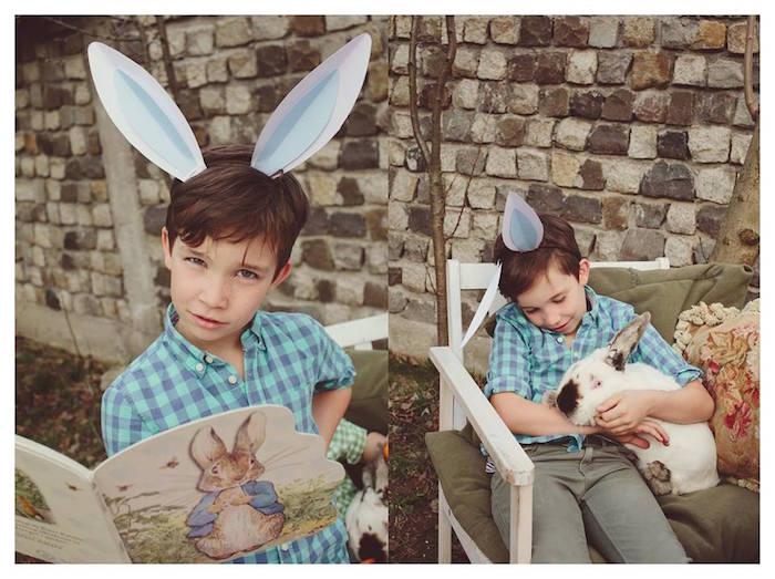 Boy Reading + Holding a Bunny from a Spring Easter Brunch Party via Kara's Party Ideas! KarasPartyIdeas.com (6)