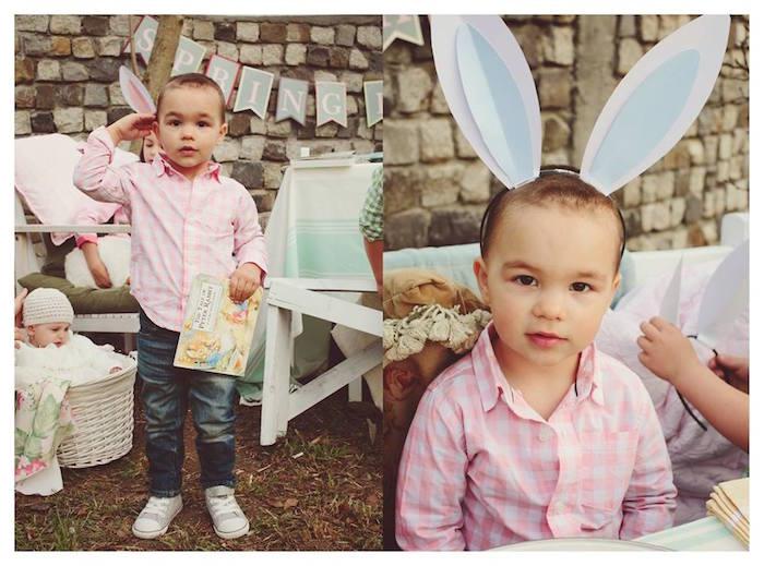 Little Boy in Bunny Ears from a Spring Easter Brunch Party via Kara's Party Ideas! KarasPartyIdeas.com (5)