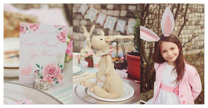 Invitation + Plush Bunny Decor + Little Girl from a Spring Easter Brunch Party via Kara's Party Ideas! KarasPartyIdeas.com (28)