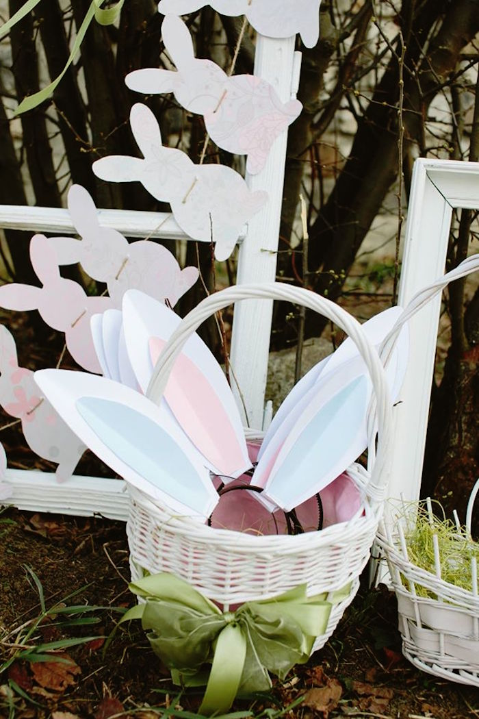 Bunny Ears in a Basket from a Spring Easter Brunch Party via Kara's Party Ideas! KarasPartyIdeas.com (27)