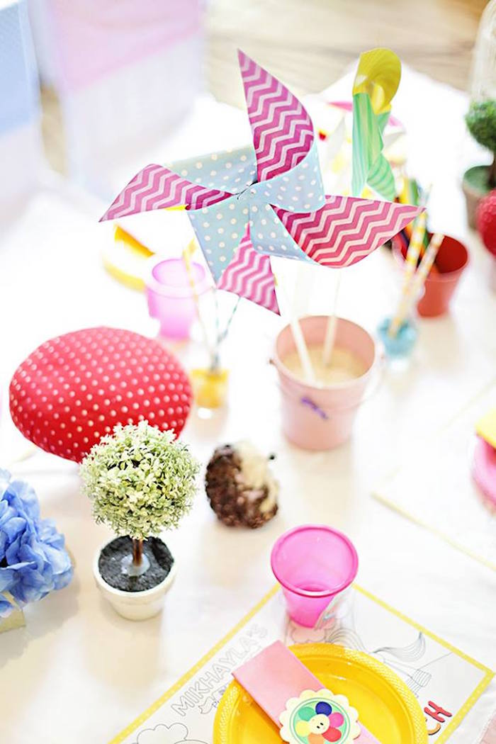 Centerpieces from a Sunny Garden 1st Birthday Party via Kara's Party Ideas | The Place for All Things Party! KarasPartyIdeas.com (2)