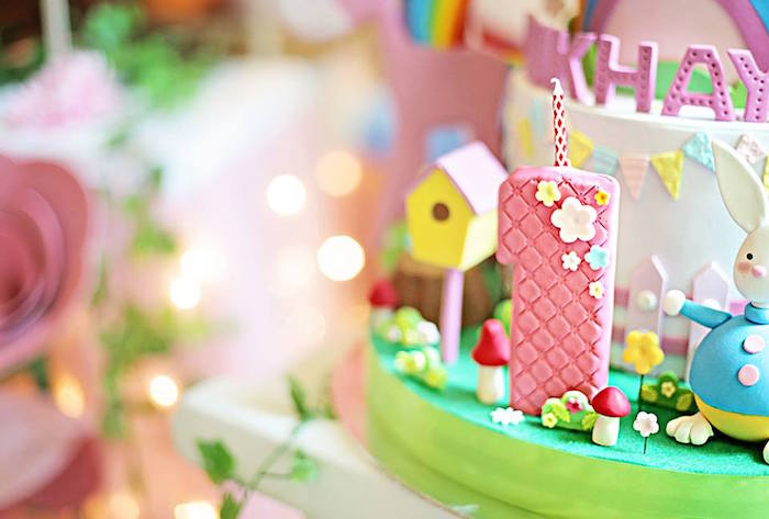 Cake Detail from a Sunny Garden 1st Birthday Party via Kara's Party Ideas | The Place for All Things Party! KarasPartyIdeas.com (14)
