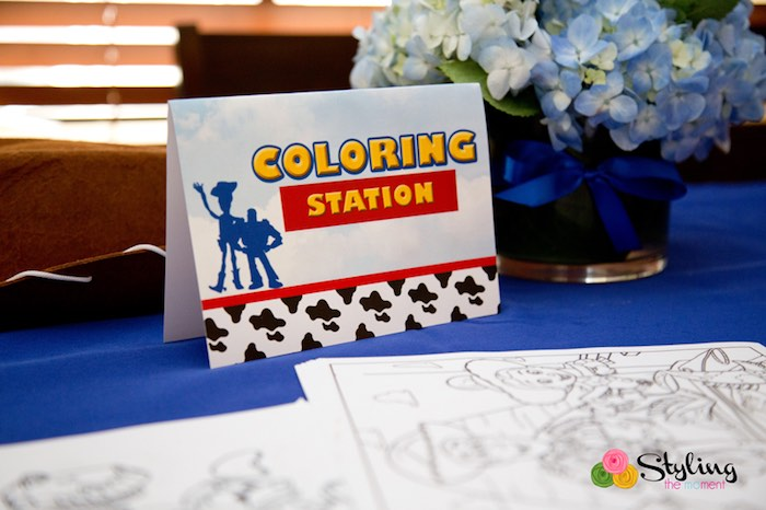 Coloring Station from a Toy Story Themed Birthday Party via Kara's Party Ideas | The Place for All Things Party! KarasPartyIdeas.com (25)