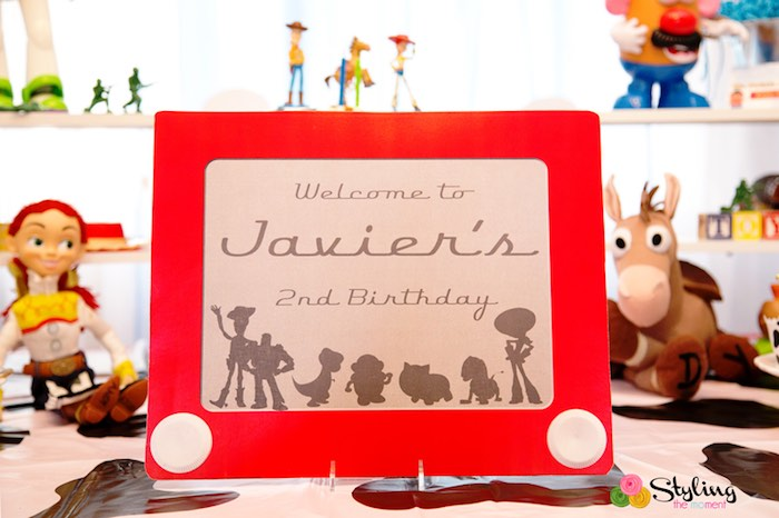 Etch-a-Sketch Sign from a Toy Story Themed Birthday Party via Kara's Party Ideas | The Place for All Things Party! KarasPartyIdeas.com (21)