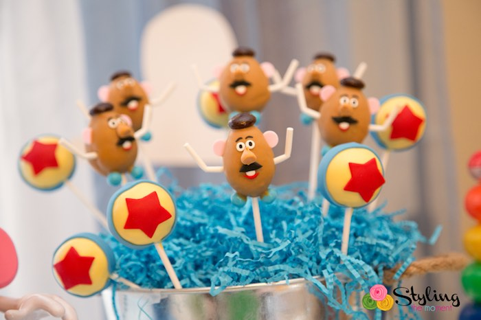 Mr. Potato Head + Bouncy Ball Cake Pops from a Toy Story Themed Birthday Party via Kara's Party Ideas | The Place for All Things Party! KarasPartyIdeas.com (18)