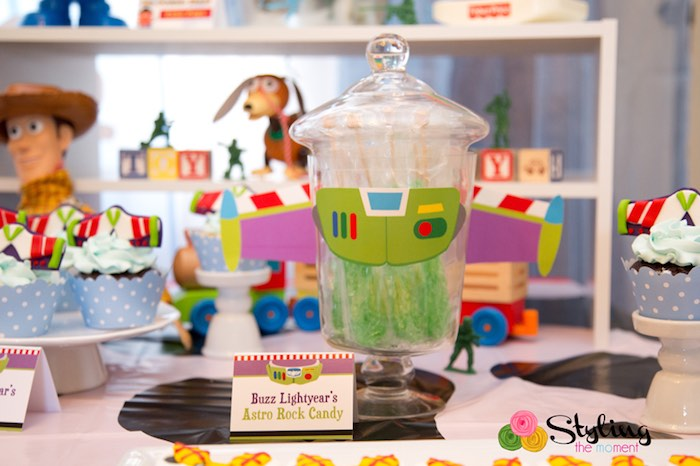 Buzz Lightyear's Astro Rock Candy from a Toy Story Themed Birthday Party via Kara's Party Ideas | The Place for All Things Party! KarasPartyIdeas.com (16)