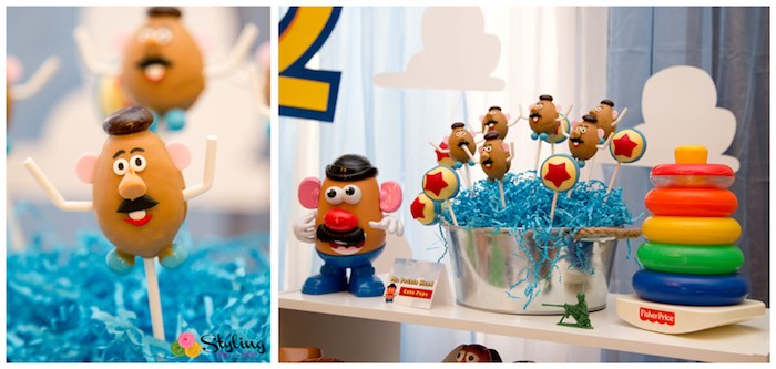 Mr. Potato Head Cake Pops + Decor from a Toy Story Themed Birthday Party via Kara's Party Ideas | The Place for All Things Party! KarasPartyIdeas.com (6)
