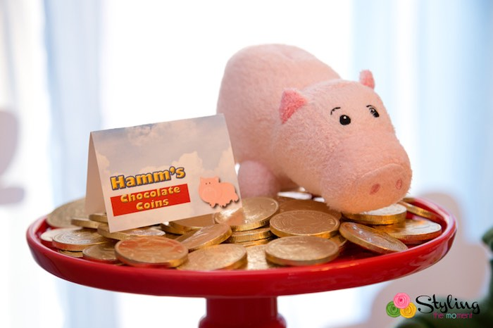 Hamm's Chocolate Coins from a Toy Story Themed Birthday Party via Kara's Party Ideas | The Place for All Things Party! KarasPartyIdeas.com (33)