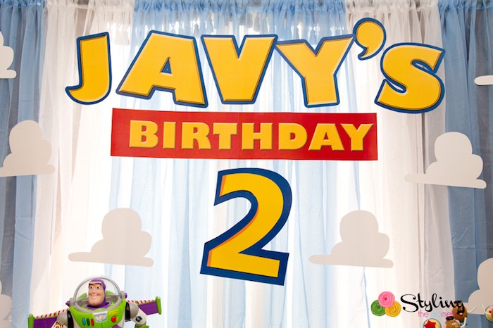 Backdrop from a Toy Story Themed Birthday Party via Kara's Party Ideas | The Place for All Things Party! KarasPartyIdeas.com (31)