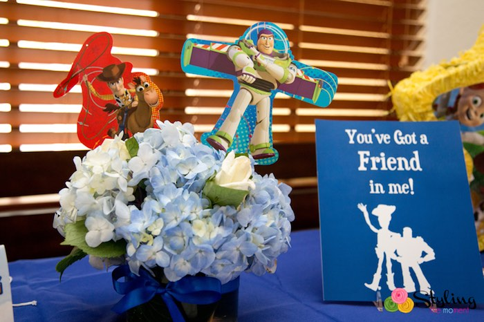 Floral Centerpiece + Sign from a Toy Story Themed Birthday Party via Kara's Party Ideas | The Place for All Things Party! KarasPartyIdeas.com (26)