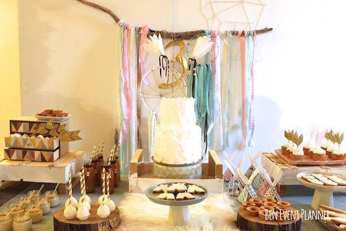 Sweet Table Detail from a Tribal Boho Birthday Party via Kara's Party Ideas | KarasPartyIdeas.com (19)