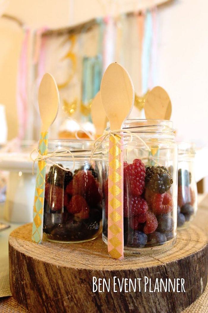 Fresh Berry Dessert Jars from a Tribal Boho Birthday Party via Kara's Party Ideas | KarasPartyIdeas.com (18)