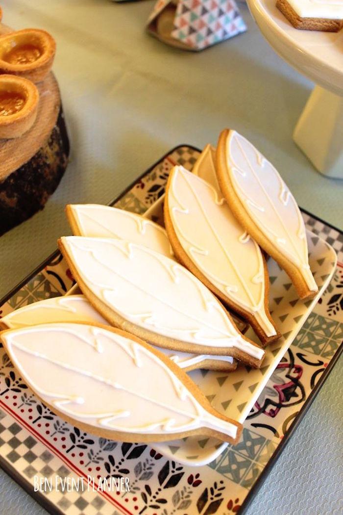 Feather Cookies from a Tribal Boho Birthday Party via Kara's Party Ideas | KarasPartyIdeas.com (14)