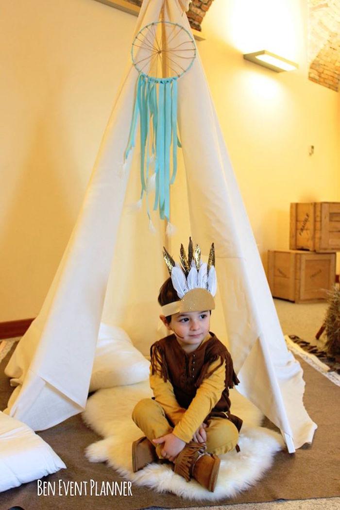 Teepee & Birthday Boy from a Tribal Boho Birthday Party via Kara's Party Ideas | KarasPartyIdeas.com (13)