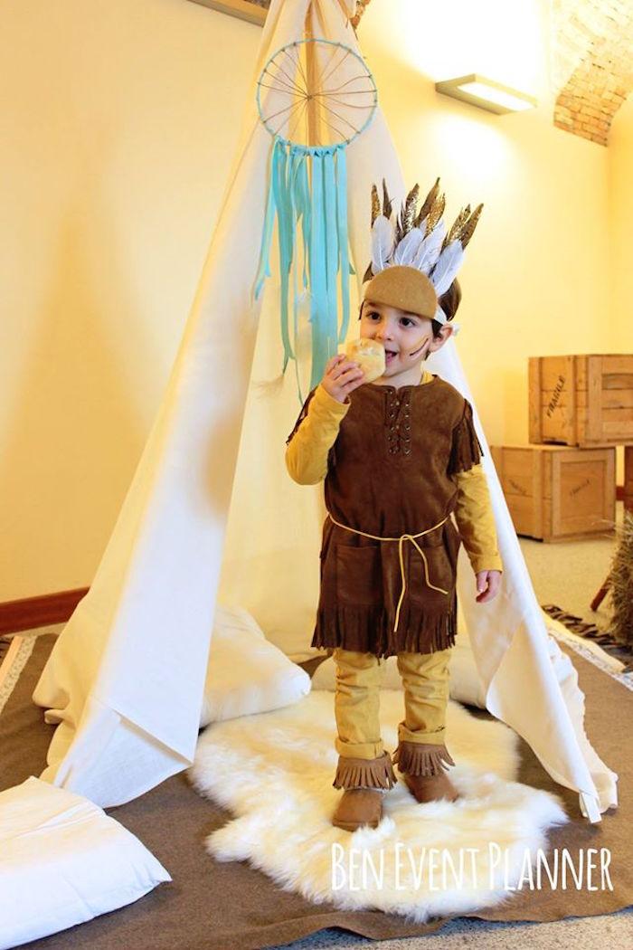 Birthday Boy + Teepee from a Tribal Boho Birthday Party via Kara's Party Ideas | KarasPartyIdeas.com (10)