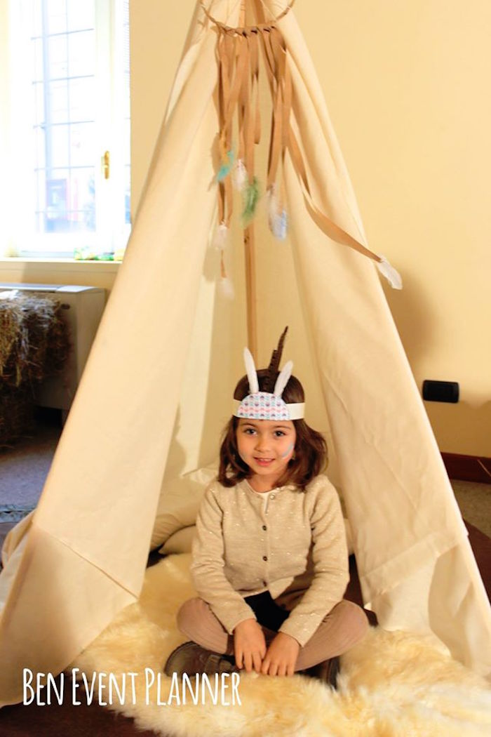 Little Girl in front of a Teepee from a Tribal Boho Birthday Party via Kara's Party Ideas | KarasPartyIdeas.com (9)