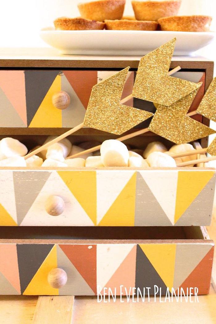 Decor + Sweet Container from a Tribal Boho Birthday Party via Kara's Party Ideas | KarasPartyIdeas.com (8)