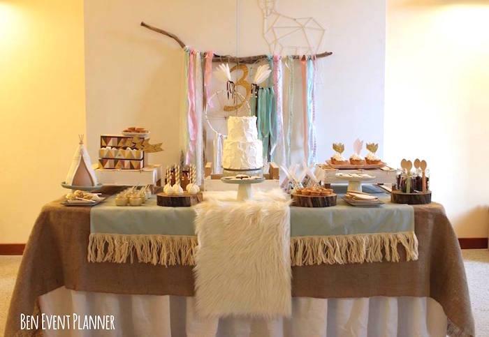 Dessert Table from a Tribal Boho Birthday Party via Kara's Party Ideas | KarasPartyIdeas.com (7)