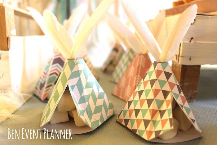 Teepee Favors + Boxes from a Tribal Boho Birthday Party via Kara's Party Ideas | KarasPartyIdeas.com (6)
