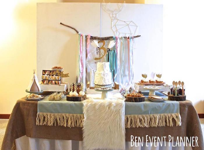 Full Dessert Table from a Tribal Boho Birthday Party via Kara's Party Ideas | KarasPartyIdeas.com (4)
