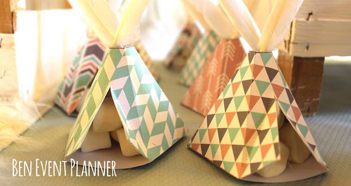 Teepee Favor Boxes from a Tribal Boho Birthday Party via Kara's Party Ideas | KarasPartyIdeas.com (1)