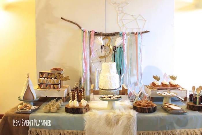 Sweet Table from a Tribal Boho Birthday Party via Kara's Party Ideas | KarasPartyIdeas.com (20)