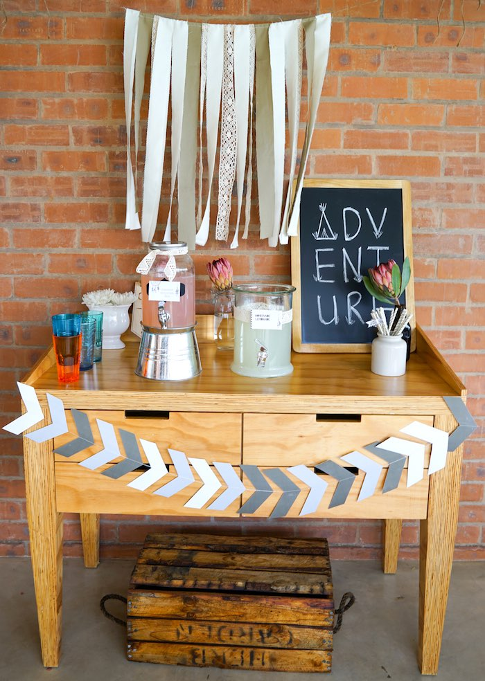 Drink Table from a Tribal First Birthday Party via Kara's Party Ideas | KarasPartyIdeas.com (16)