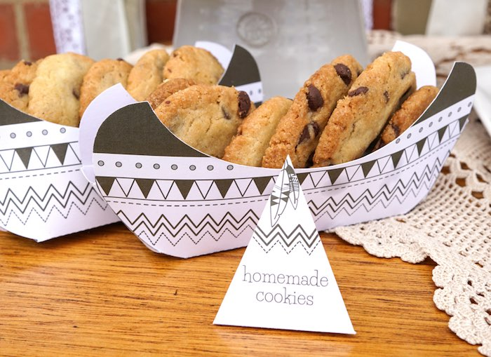 Cookies placed in Paper Canoes from a Tribal First Birthday Party via Kara's Party Ideas | KarasPartyIdeas.com (12)