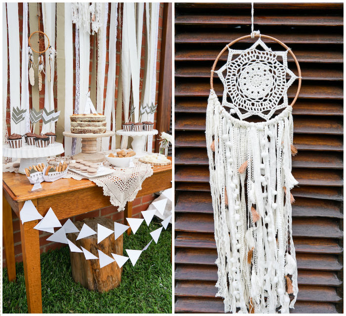 Head Table + Dreamcatcher Decor from a Tribal First Birthday Party via Kara's Party Ideas | KarasPartyIdeas.com (2)