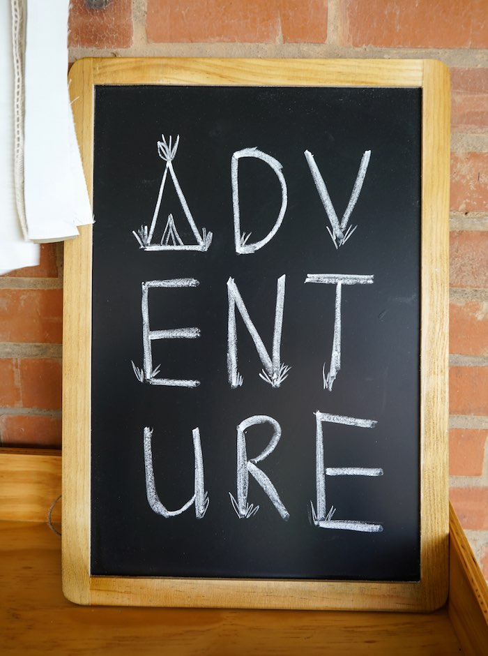 Chalkboard Adventure Sign from a Tribal First Birthday Party via Kara's Party Ideas | KarasPartyIdeas.com (22)