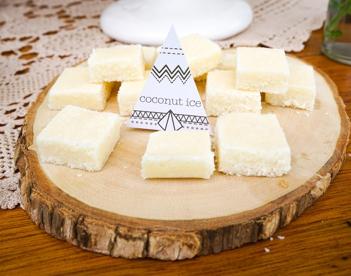 Coconut Ice from a Tribal First Birthday Party via Kara's Party Ideas | KarasPartyIdeas.com (20)