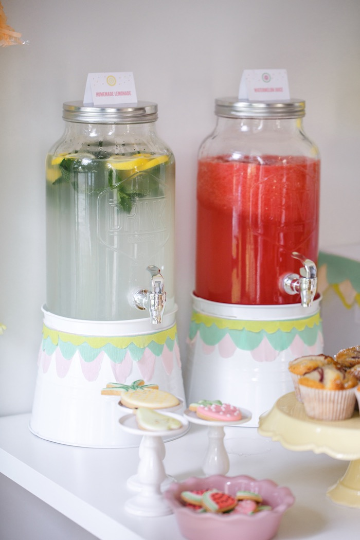 Drink Dispensers from a Tutti Frutti Birthday Party via Kara's Party Ideas | KarasPartyIdeas.com (33)