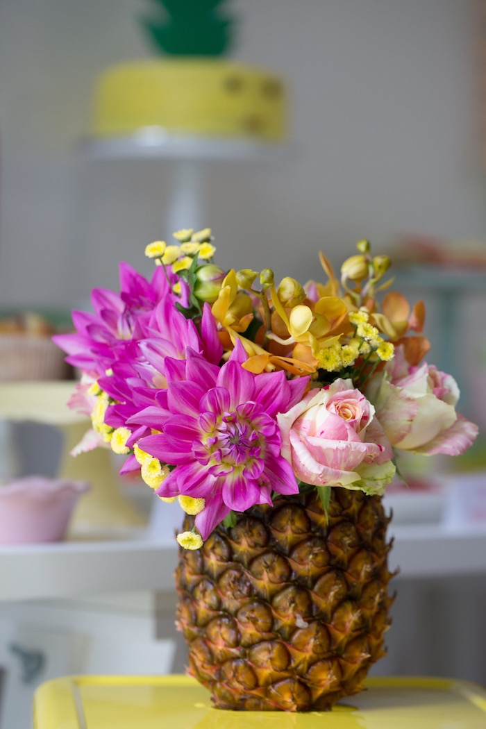 Pineapple Floral Arrangement from a Tutti Frutti Birthday Party via Kara's Party Ideas | KarasPartyIdeas.com (12)