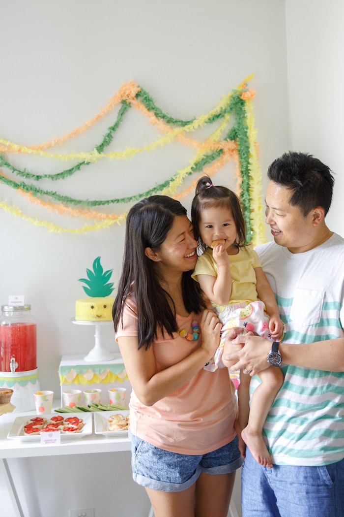 Birthday Girl + Parents from a Tutti Frutti Birthday Party via Kara's Party Ideas | KarasPartyIdeas.com (10)