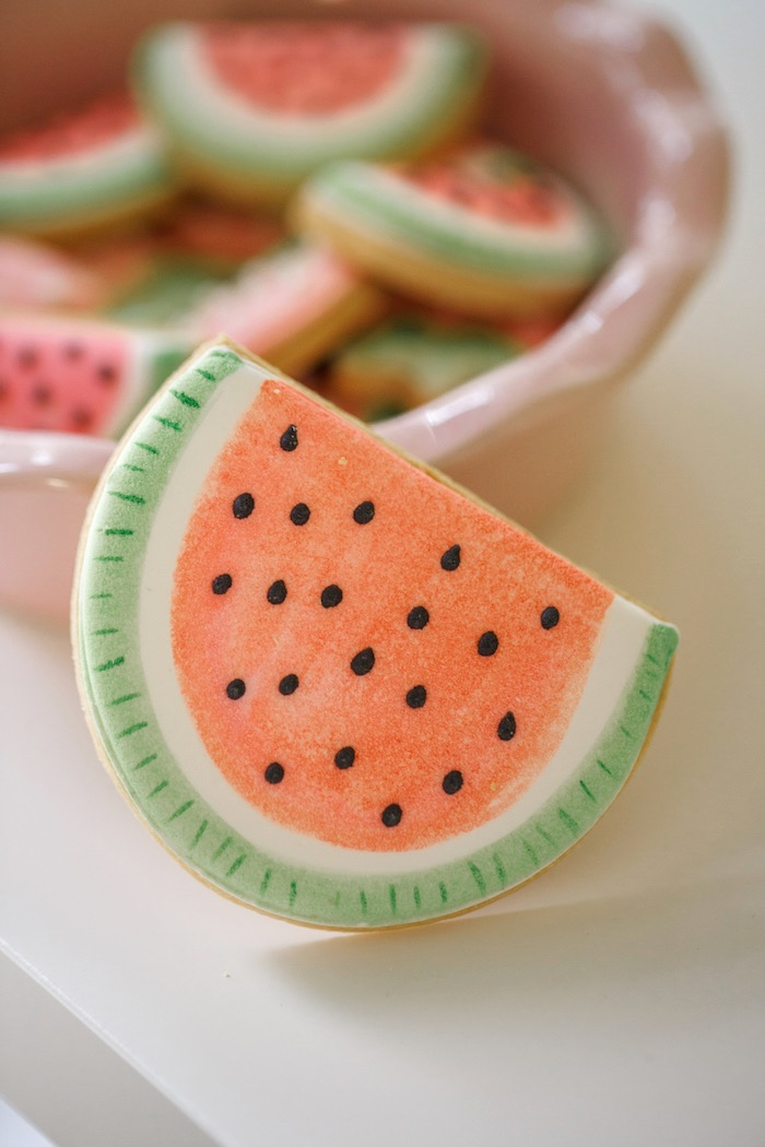 Watermelon Cookie from a Tutti Frutti Birthday Party via Kara's Party Ideas | KarasPartyIdeas.com (7)