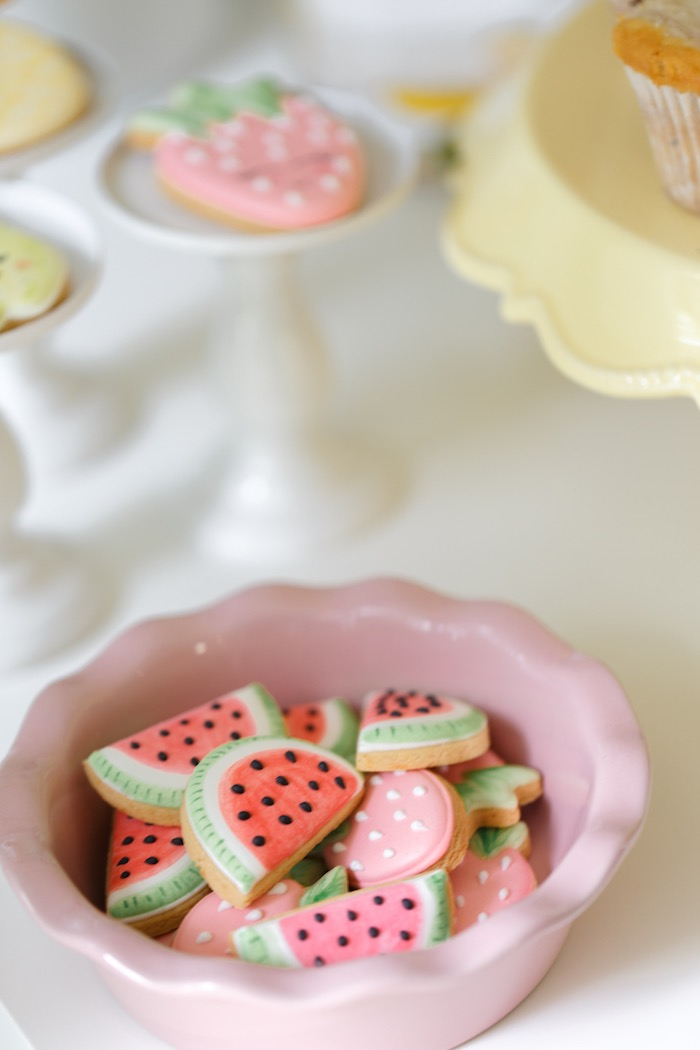 Watermelon + Strawberry Cookies from a Tutti Frutti Birthday Party via Kara's Party Ideas | KarasPartyIdeas.com (36)