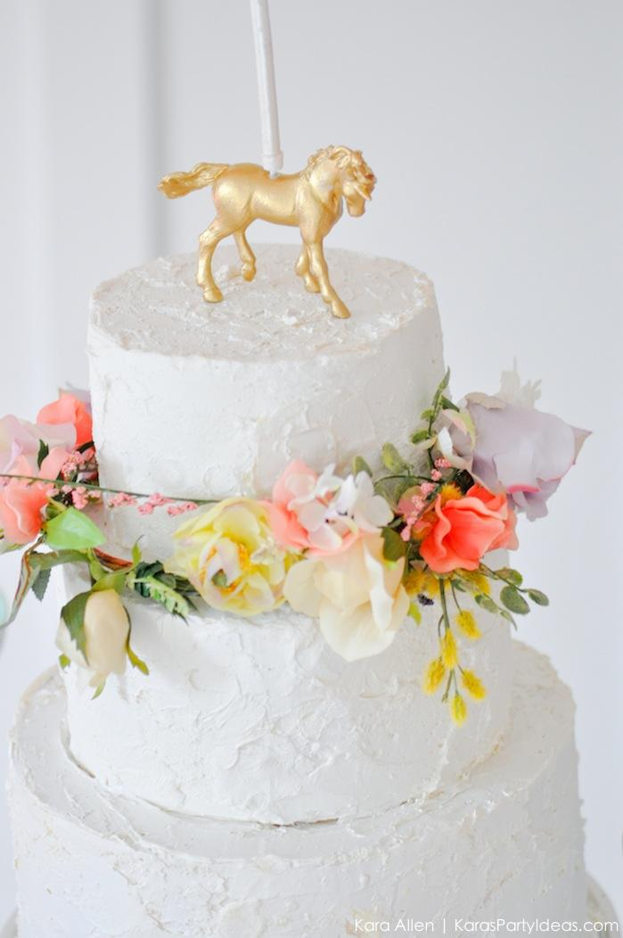Unicorn cake at a Unicorn themed birthday party by Kara's Party Ideas | Kara Allen | KarasPartyIdeas.com