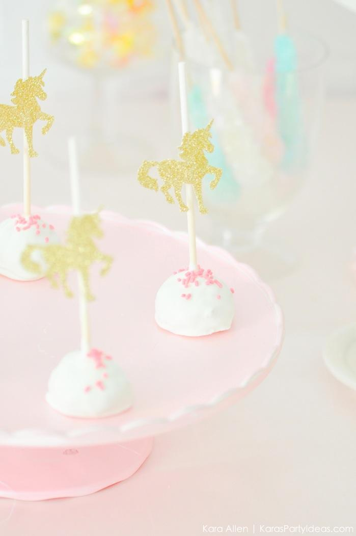 Unicorn cake pops at a unicorn themed birthday party by Kara's Party Ideas | Kara Allen | KarasPartyIdeas.com-200-41