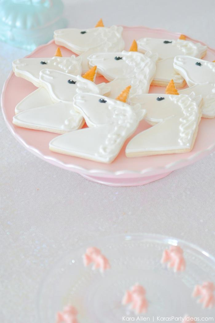Unicorn cookies at a unicorn themed birthday party by Kara's Party Ideas | Kara Allen | KarasPartyIdeas.com