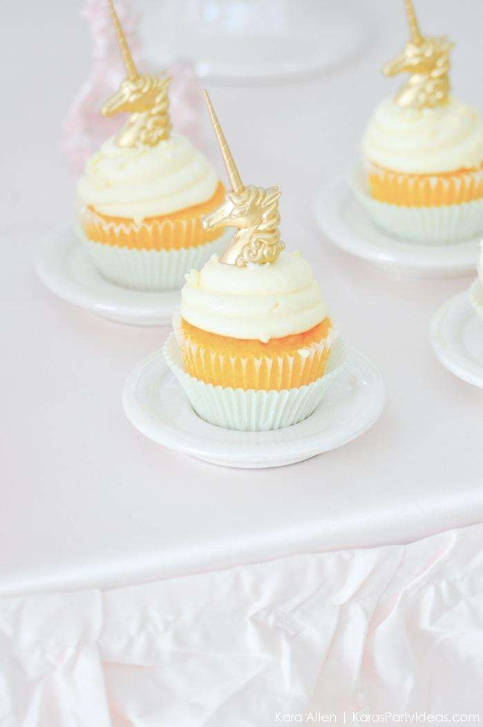 Unicorn cupcakes at a unicorn themed birthday party by Kara's Party Ideas | Kara Allen | KarasPartyIdeas.com-200-42