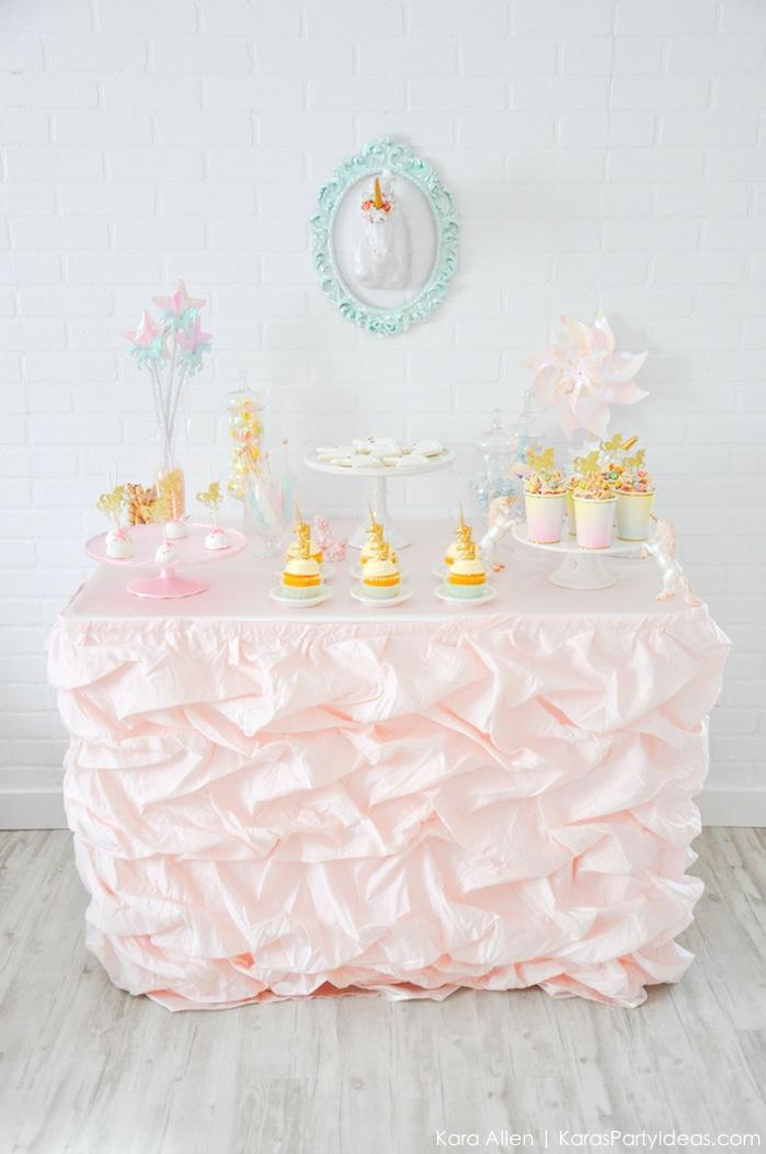 Unicorn themed dessert table at a birthday party by Kara's Party Ideas | Kara Allen | KarasPartyIdeas.com