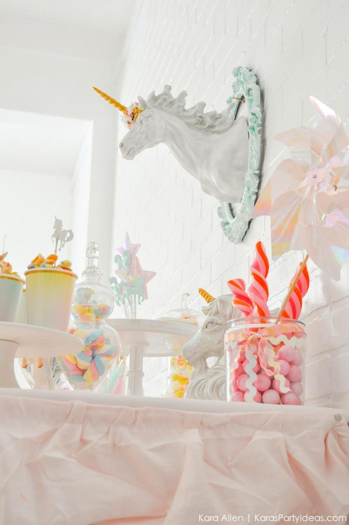 Unicorn dessert table at a unicorn themed birthday party by Kara's Party Ideas | Kara Allen | KarasPartyIdeas.com-207