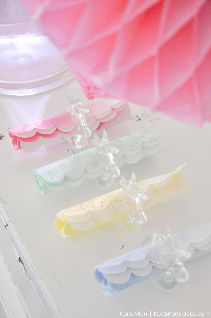 Unicorn napkin rings at a unicorn themed birthday party by Kara's Party Ideas | Kara Allen | KarasPartyIdeas.com-200-123