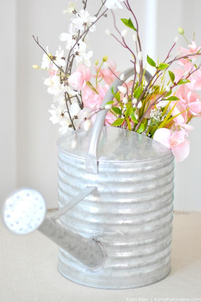 Watering Can Floral Spring Centerpiece by Kara's Party Ideas | Kara Allen #michalesmakers 5